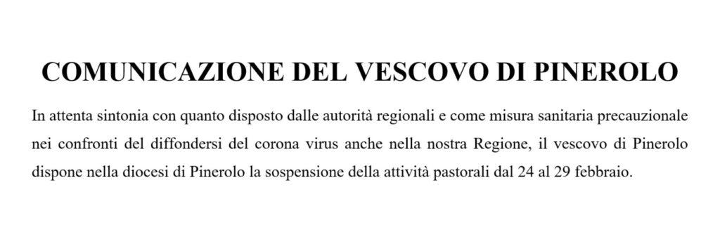 Comunicato del Vescovo di Pinerolo [corona virus] – 24.02.20