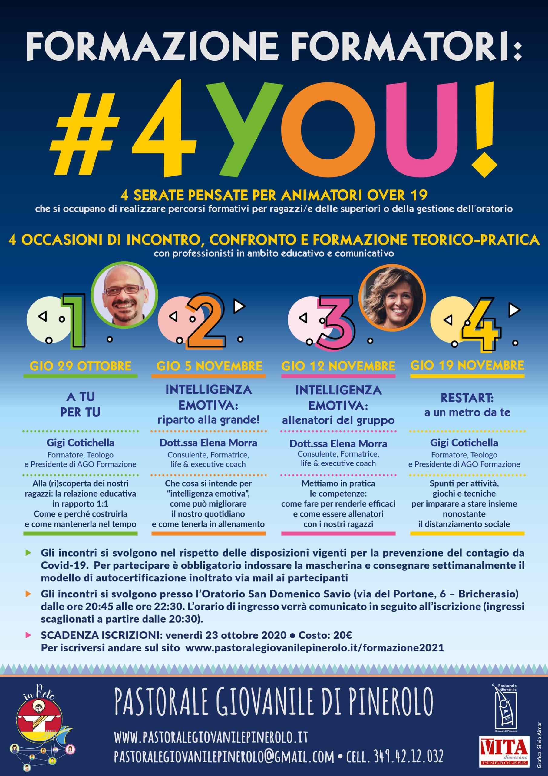 Formazione Formatori #4YOU! 2020-21 - 29 ottobre - 5 novembre - 12 novembre - 19 novembre